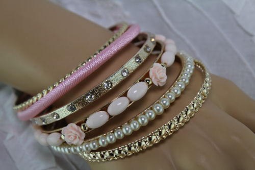 Romantic 6 Layer Gold. Pearl, Rhinestone Stack Bracelet (with Lt. Pink or Mint Green Roses)