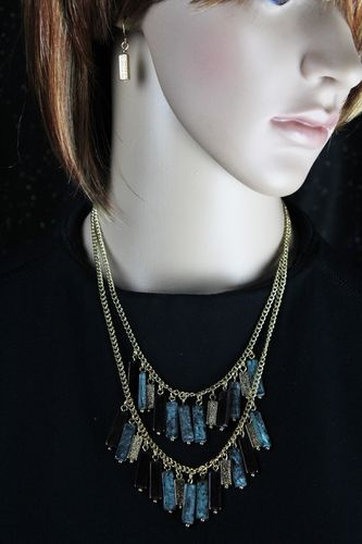 Turquoise and Textured Gold Bar Charm Tribal Necklace and Earring Set