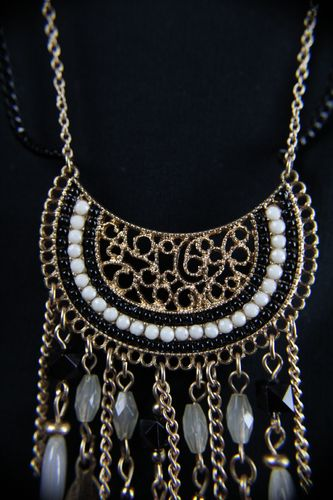 Long Gold Filigree Beaded Feather and Tassel Native Necklace & Earring Set