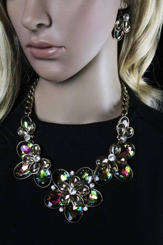 Bold & Chunky Rainbow Crystal Flower Statement Necklace and Earring Set