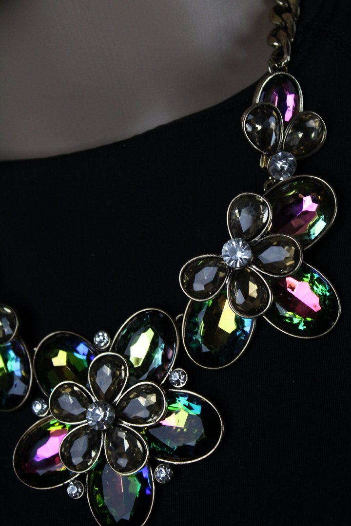 Bold Amp Chunky Rainbow Crystal Flower Statement Necklace