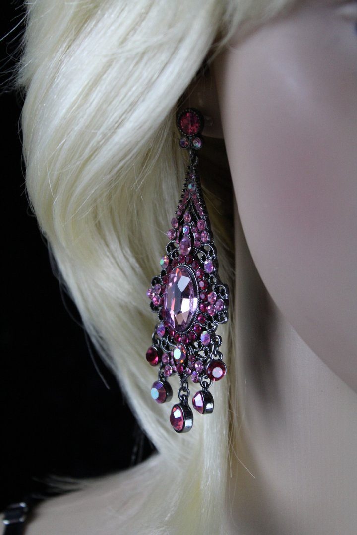 Black Filigree Victorian Ornate Pink Crystals Chandelier Dangle ...