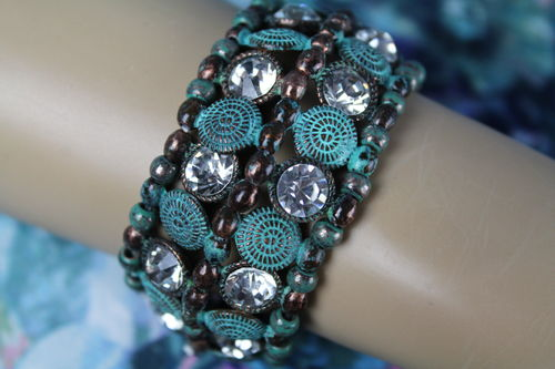 Shabby Chic Rustic Patinated Bronze, Turquoise & Rhinestones Stretch Bracelet