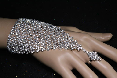 Crystal Rhinestone Mesh Slave Bracelet with attached Diamond Shaped Crystal Ring