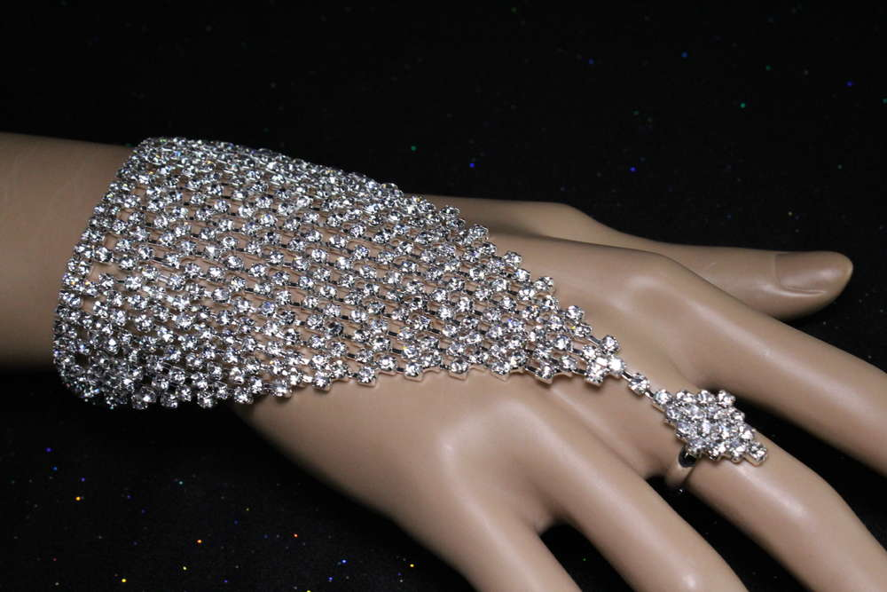 Crystal Rhinestone Mesh Slave Bracelet With Attached Diamond Shaped Ring