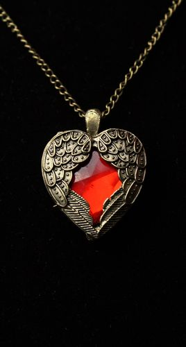 "Steampunk Golden Winged Ruby Crystal Heart Pendant on 24"" Chain Necklace"