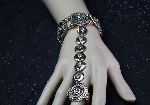 Burnished Gold and Rhinestone Tribal Gypsy Stretch Slave Bracelet Hand Chain