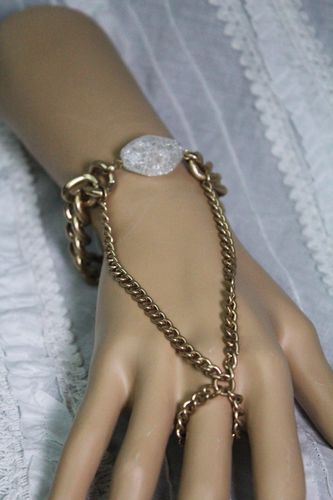 Matte Gold Hand Chain Slave Bracelet with Raw Rock Accent