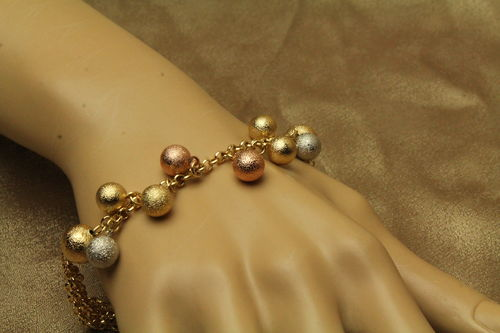FrostyTextured Silver, Gold, Pink Dangle Beaded Fashion Gold Plated Bracelet