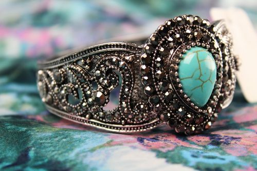 Gothic Victorian Burnished Silver with Turquoise Stone & Marcasite Cuff Bracelet
