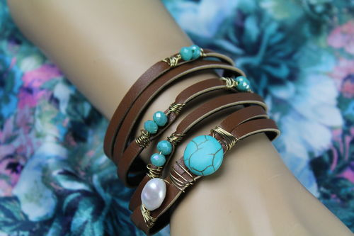 Leather & Turquoise Deco Wire & Bead Tribal Wraparound Bracelet (Black or Brown)