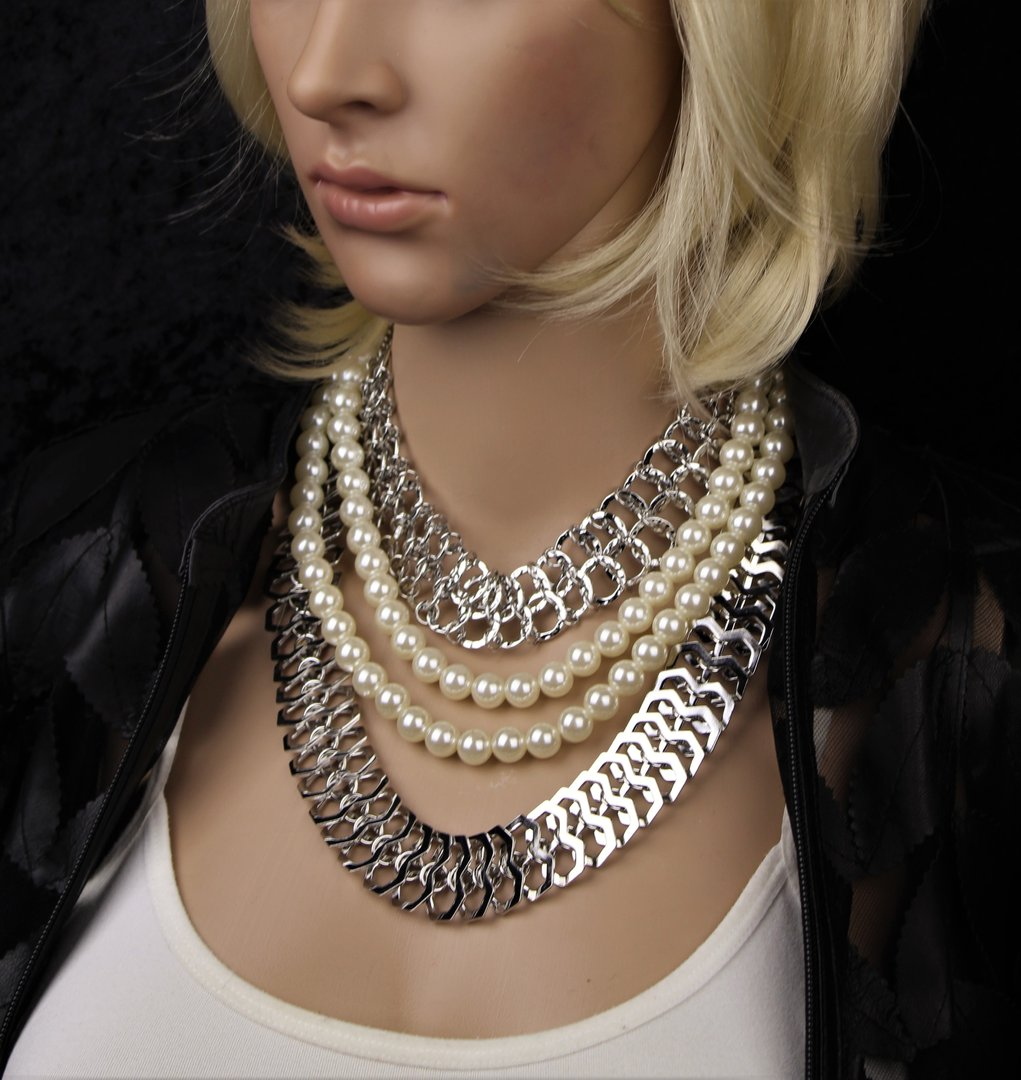 3 Layer Pearl Chains Choker Necklaces Dramatic Statement W Earrings Gold Or