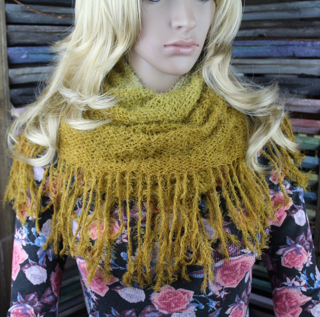 Fuzzy Fringe Turtle Neck Scarf - 2-Tone, Super Soft Tubular Design (2  Colors)