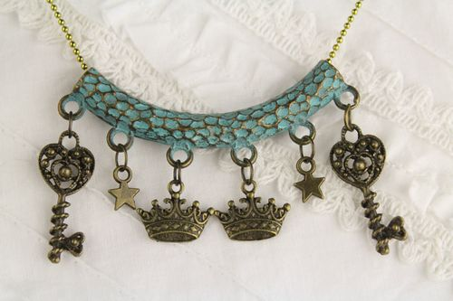 Steampunk Enchanted Castle Turquoise Patina Charm Necklace w/ Crowns, Stars & Heart Keys (Handmade)