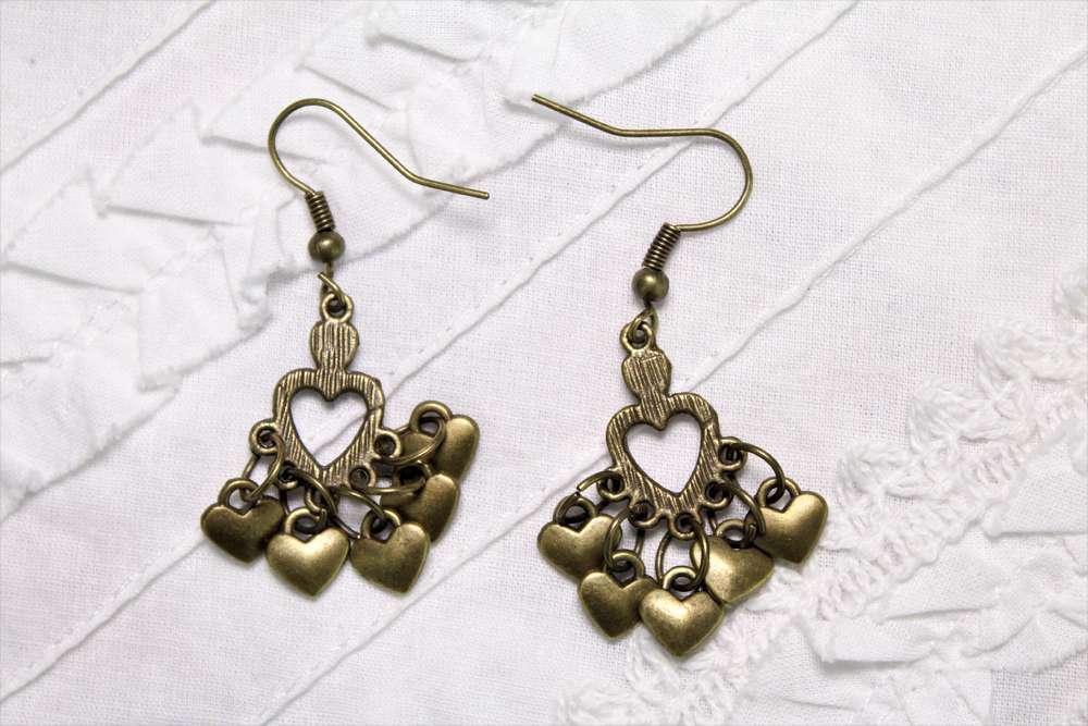 Dainty brass heart chandelier earrings with cozy cluster of brass dainty brass heart chandelier earrings with cozy cluster of brass heart charms 15 long mozeypictures Gallery