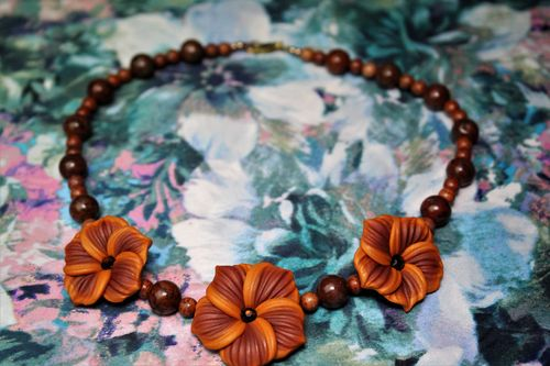 Brown Turquoise and Brown/Orange Polymer Clay Rose Necklace (Handmade)