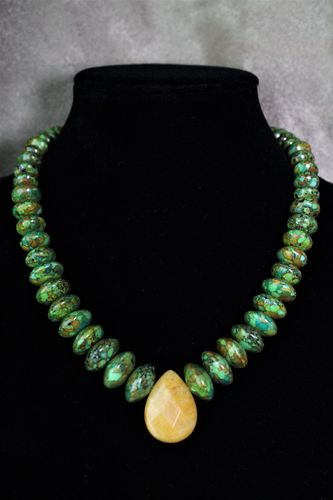 Green Turquoise Magnesite Necklace with Honey Jade Teardrop Pendant (Handmade)