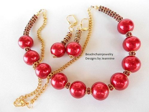 Stunning Red and Gold Bead Necklace and Earring Set (Handmade)