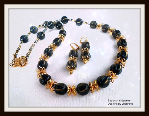 Vintage Gold and Navy Blue Beaded Necklace and Earrings Set (Handmade)