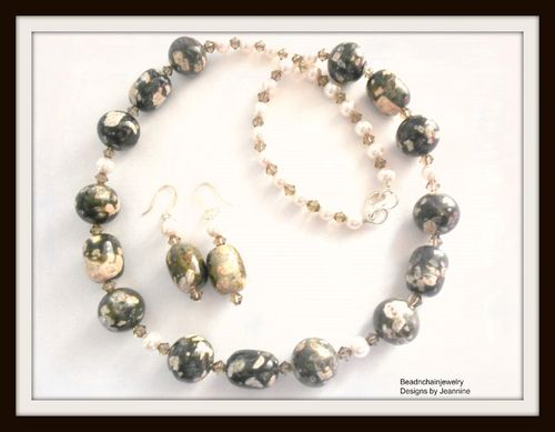 Deep Green, Pink, Cream and Gray Necklace and Earring Set (Handmade)