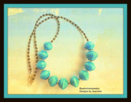Blue Paper Beads with Bronze and Gold Necklace  (Handmade)