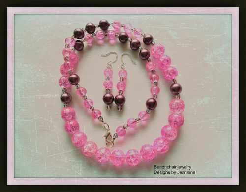 Pink Crackle Glass and Purple Pearl Necklace and Earring Set (Handmade)