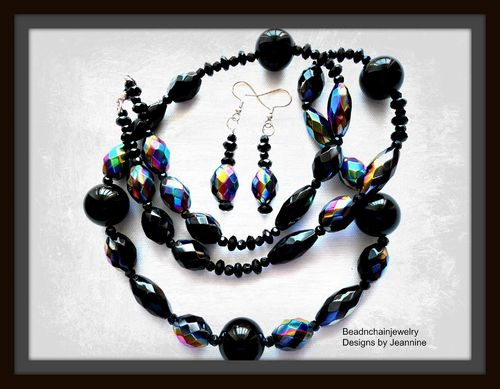 Stunning Black and Aurora Borealis Beaded Necklace and Earrings Set (Handmade)