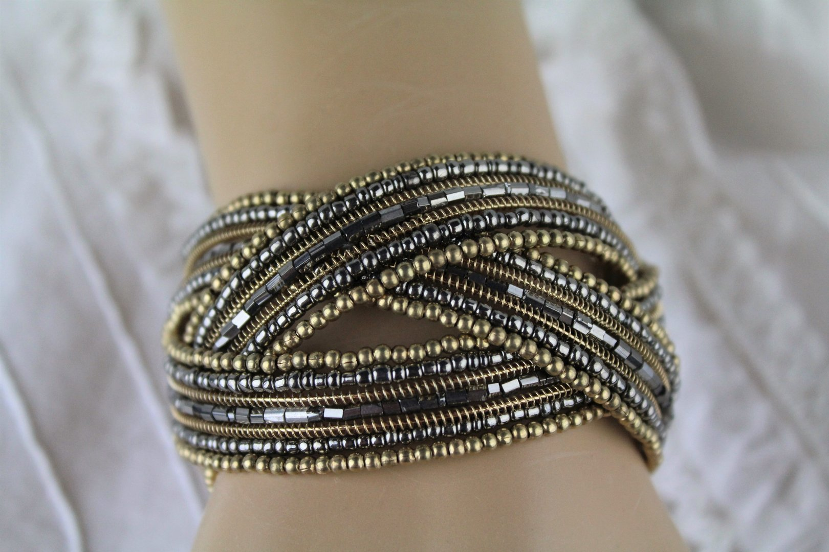 Braided Bead Bracelet Boho Wire Cuff Natural Shades of Gold and Grey ...