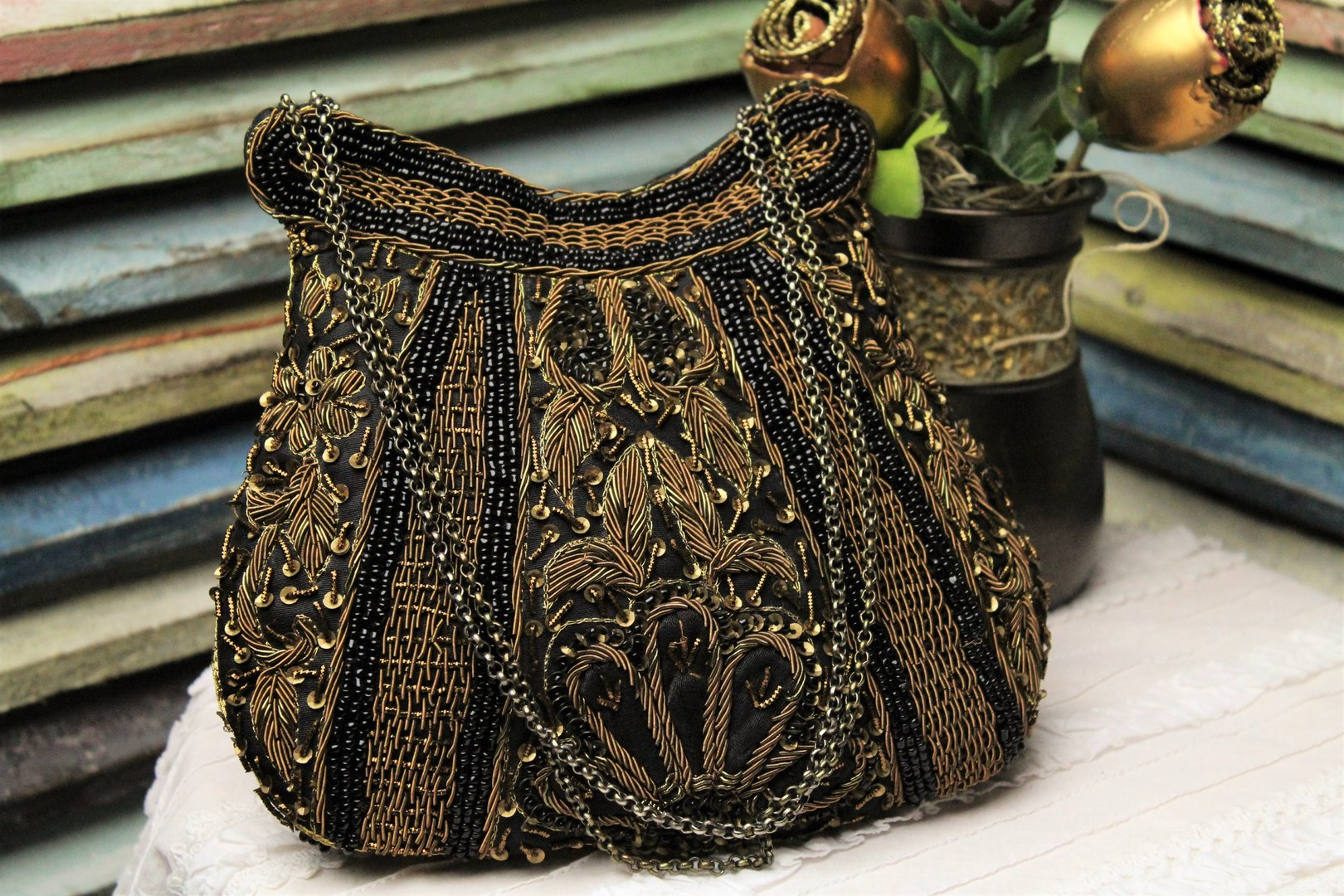 af6a2431c5e Designer Glam Bag Black Beaded Evening Bag Bronze Embroidery (Artisan  Designer) ...