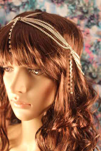 Rhinestone Draped Head Chain