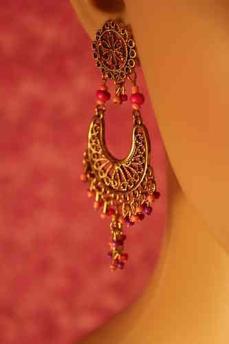 Bead Crescent Fuchsia Dangle BOHO Earrings Pink