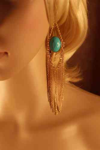 Gold Chain Fringe Earrings Resin Gold Chain Dangle (White or Turquoise)