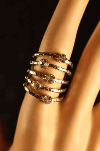 Silver and Crystal Multi-Tier Statement Ring Size 8
