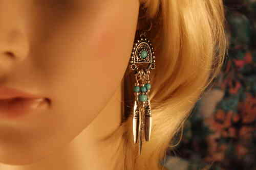 Antique Ornate Silver and Turquoise Tribal Drop Hook Earrings