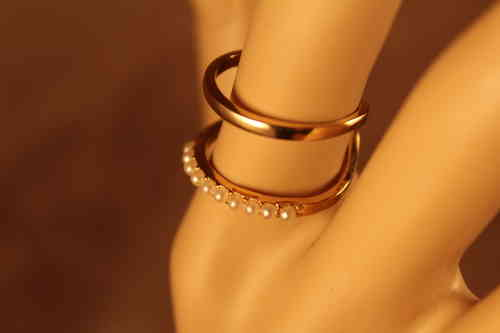 Gold  and Pearl Ring Two Tier Semi  Adjustable Ring (size 8 prior to adjustment)