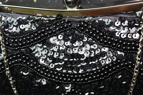 Vintage Faux Pearl Beaded Sequin Black Evening Bag Clutch Purse Rem. Chain Strap