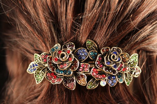 Floral Multi-colored Rhinestone Hair Clip with Gold Trimmings!