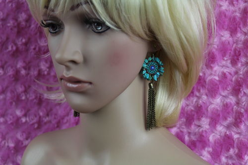 Angular Stone Flower Framed Tassel Fringe Hook Earrings Turquoise