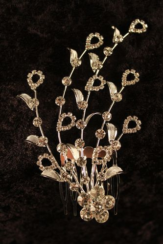 Flower Radiance Hair Comb Stick Silver and Crystal Rhinestones Bridal Wedding