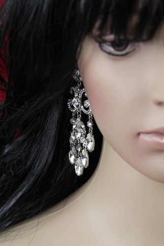 Elegant Crystal Chandelier Statement Post Earrings
