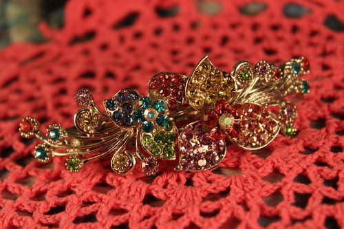 Silver Floral Swag Hair Clip with Colorful Multi Facet Rhinestones