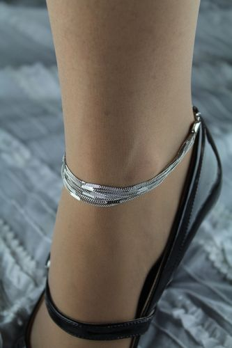 Sparkling Textured Silver and Chain Drape Layered Anklet