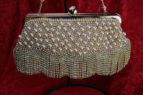 Exquisite Ivory & Pearl Evening Bag W/Rhinestone Fringe and Gold Trim & Hideaway Chain
