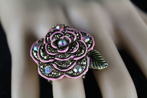 Large Pink Single Flower Rainbow Crystal Rhinestone Stretch Ring (Silver or Gold)