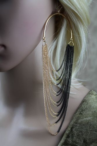 Large Hoop Chain Fringe Drape Hook Earrings (Gold/Black or Gold)