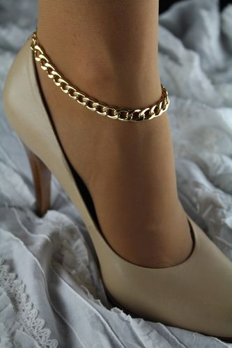 Classic Gold Single Flat Chain Anklet