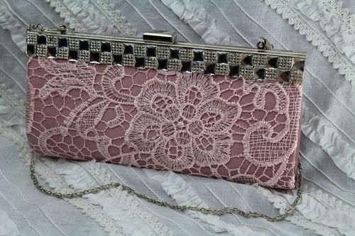 Pink Lace Evening Bag with Silver and Rhinestone Trim and Hideaway Chain Strap