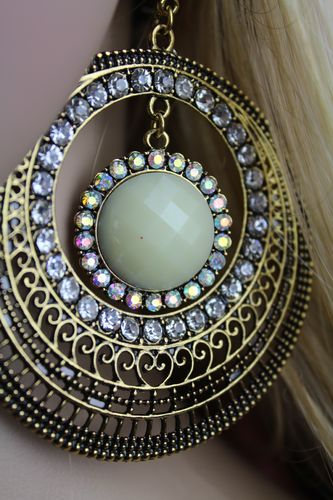 BOHO Antique Gold Filigree Hoop Post Earrings W/Ivory Colored Stones and Rainbow Crystals