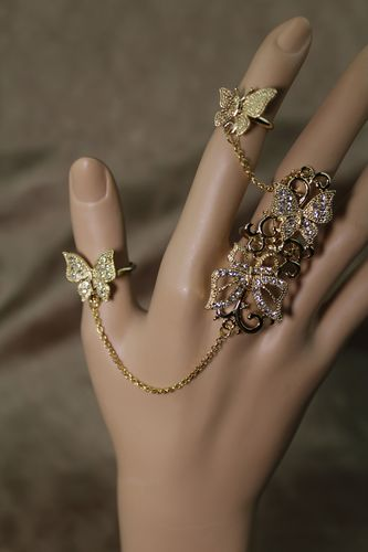 Butterfly Crystal Rhinestone Ring Set Hand Chain Adjustable  (Gold or Silver)