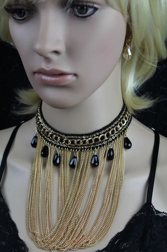 Black Chain & Bead Fringe Choker Necklace W/Rhinestone Trim and Gold Hook  Earrings